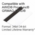 Printable Composite Proximity Card with Magnetic Stripe - AWID® 34bit